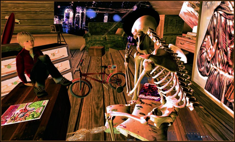 VR image of an avatar as a child talking to a skeleton