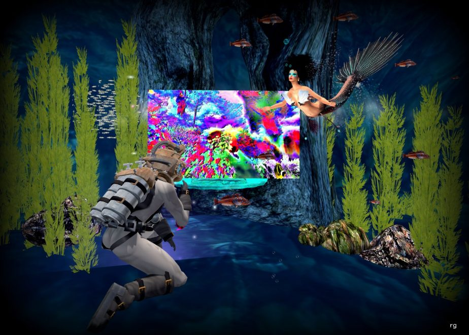 A virtual reality image depicting a mermaid and Cornelis Drebbel posing underwater with an abstract digital painting by Rob Goldstein