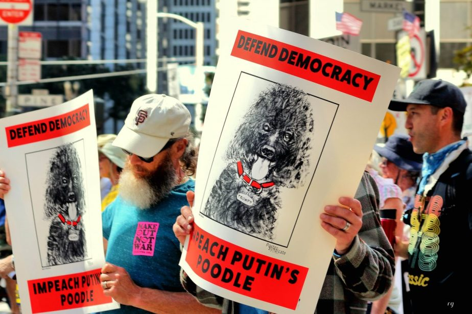 Defend Democracy, Impeach Putin's Poodle at the march For Climate March in San Francisco