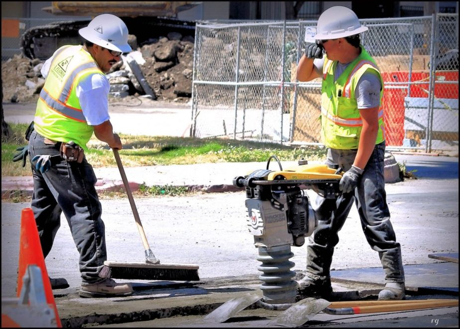 Construction workers doing road repairs in San Francisco