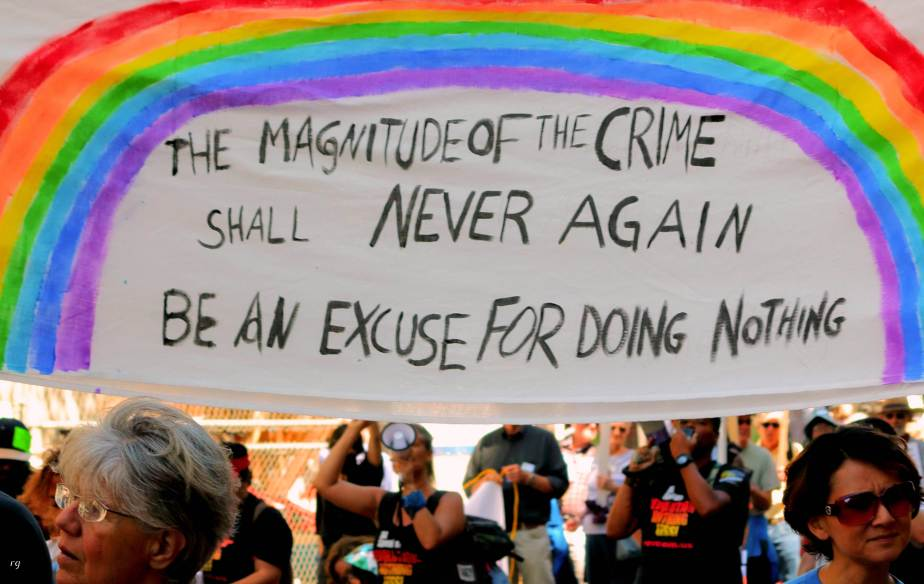 The Magnitude of the Crime Shall Never Again be an Excuse for Doing Nothing at the march For Climate March in San Francisco