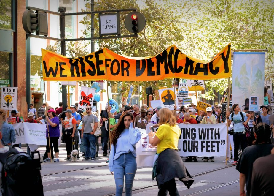 We Rise For Democracy at the march For Climate March in San Francisco
