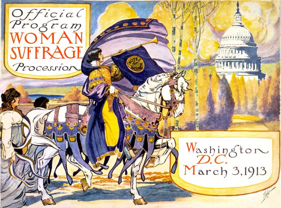 Poster for a 1913 Women's March for the vote.