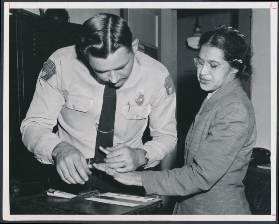 Rosa Parks after her Arrest for refusing to give her seat to a white person.