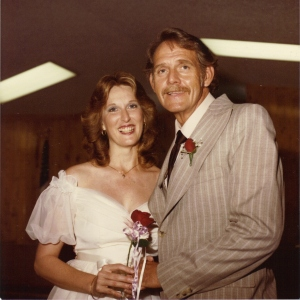A portrait of Rick and Jan Sikes on their wedding day.