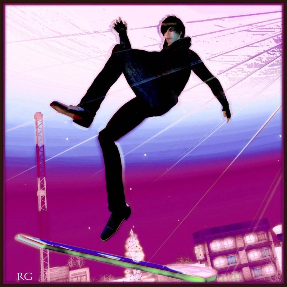 Avatar depicing a young man against a puple sky sleepwalking on a hoverboard