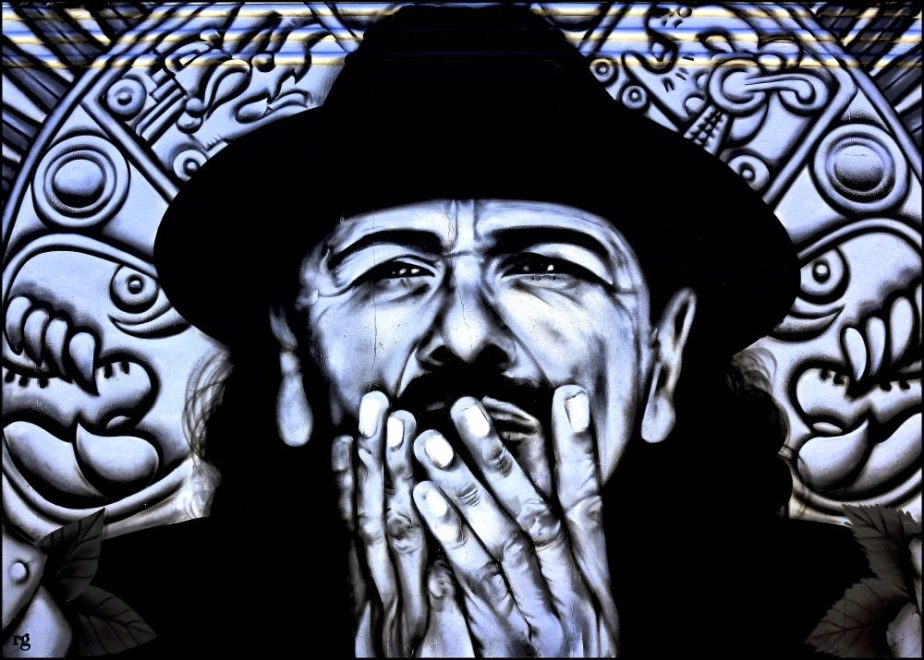 Processed digital photograph of a mural of Carlos Santana in San Francisco's Mission District