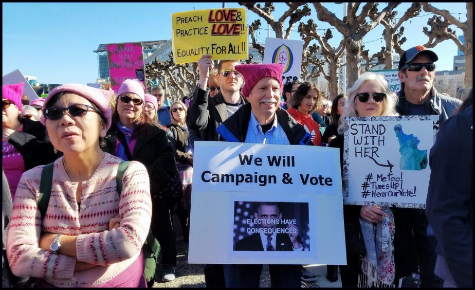 From the 2017 Women's March in San Francisco Jan 20 Wew will Campaign and Vote