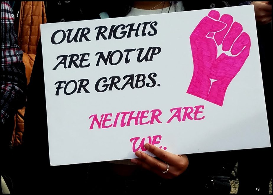 A protest sign at the 2019 Women's March that reads our rights are not up for grabs