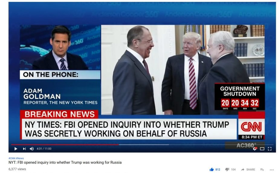 Screenshot CNN News Report:F.B.I. Opened Inquiry Into Whether Trump Was Secretly Working on Behalf of Russia