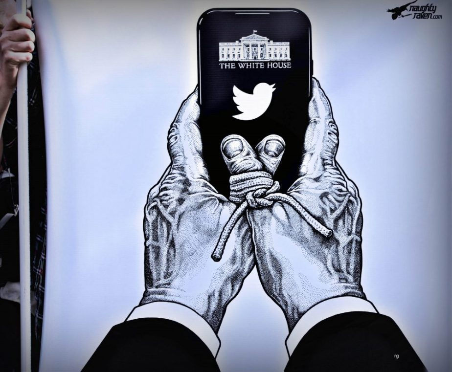 Photograph of a poster at the 2019 San Francisco Women's March, Trump's thumbs are immobilized which prevents him from sending tweets