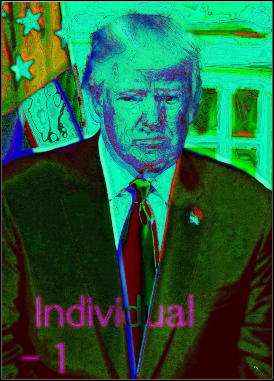 Digital painting of Donald Trump min Green, based on a portrait in the public domain