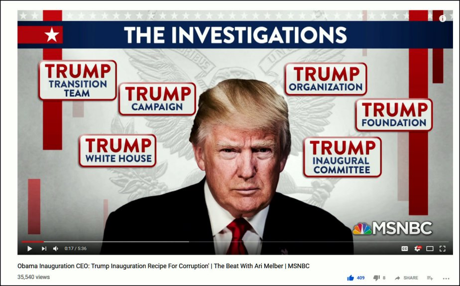 Screenshot of Trump investigations from The Beat with Ari Melber