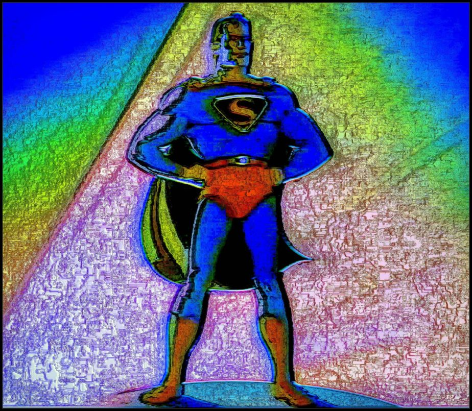 Digital Painting of Superman based on a frame from a 1940's Superman cartoon.