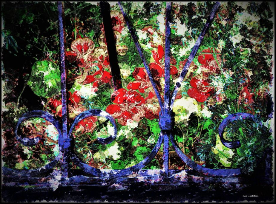 A digital painting based on a 2011 Blackberry photograph of flowers behind a gate