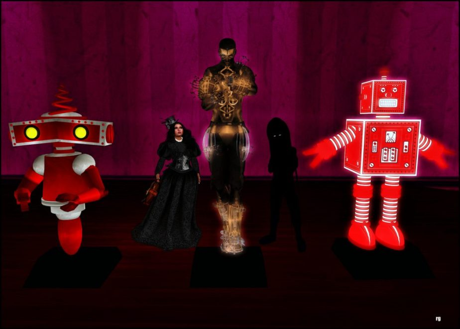 A photograph staged in VR depicting a little girl and a shadow boy standing in front of three robots