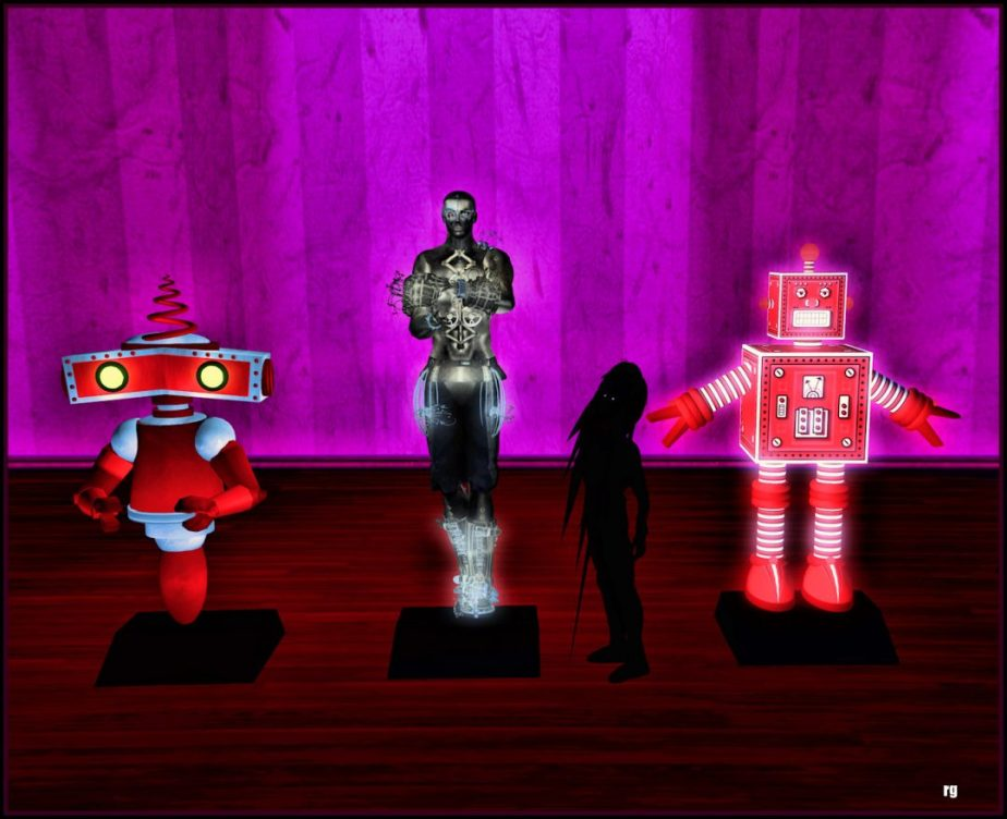 A digital photograph staged in VR depicting a shadow boy standing in front of three robots