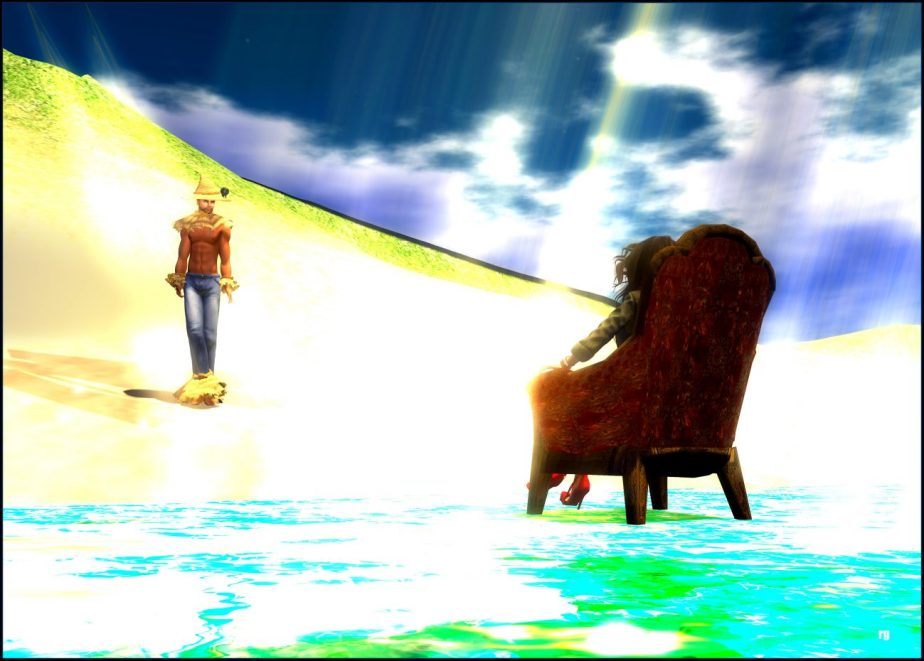 Virtual reality illustration of a man on a beach gazing at a woman who sits in a chair on the water