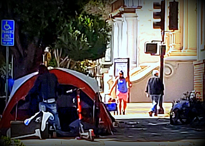 Tents on Dolores Street, August 23 2020