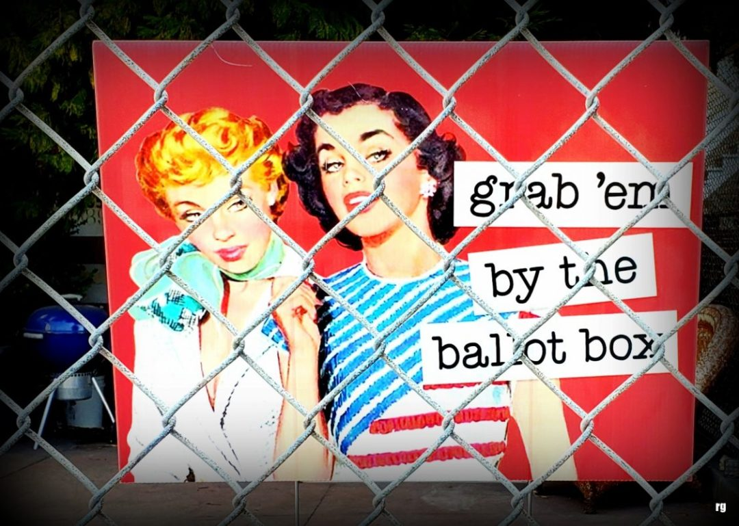 A photograph of a sign that reads frab them by the ballot box